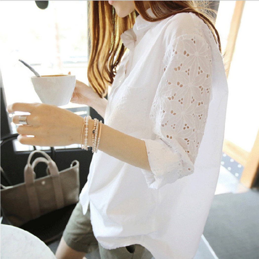 Women's Clothing Women Fashion Hollow Out Floral Shirt Plus Size Tops Casual White Blouse Korean Style Long Sleeve Slim Fit Blouses Ladies S-5xl Demand Exceeding Supply