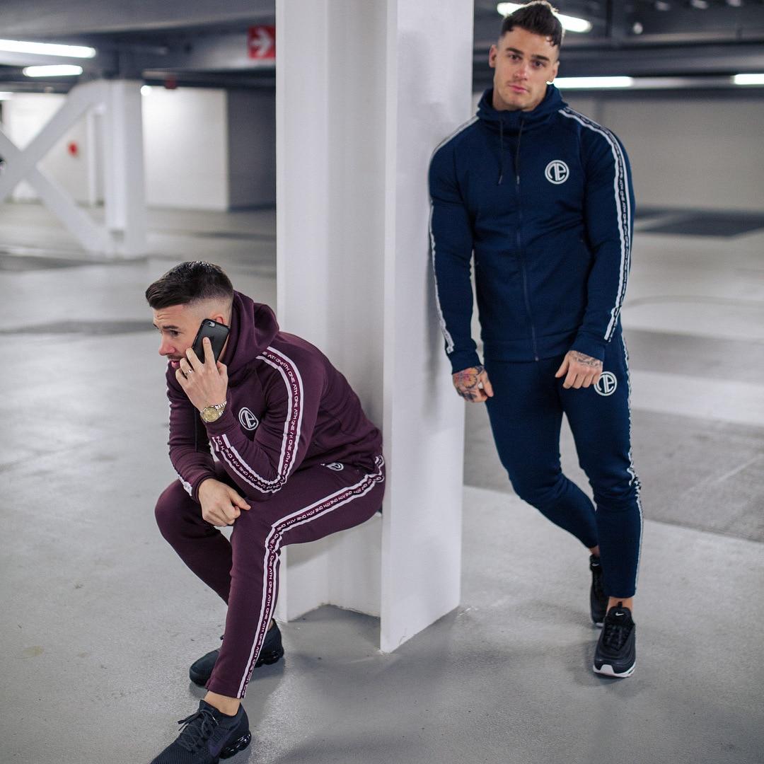 Nuevo conjunto de ropa deportiva para correr para hombre, chándales de gimnasia, sudaderas + Pantalones, ropa de entrenamiento - 4