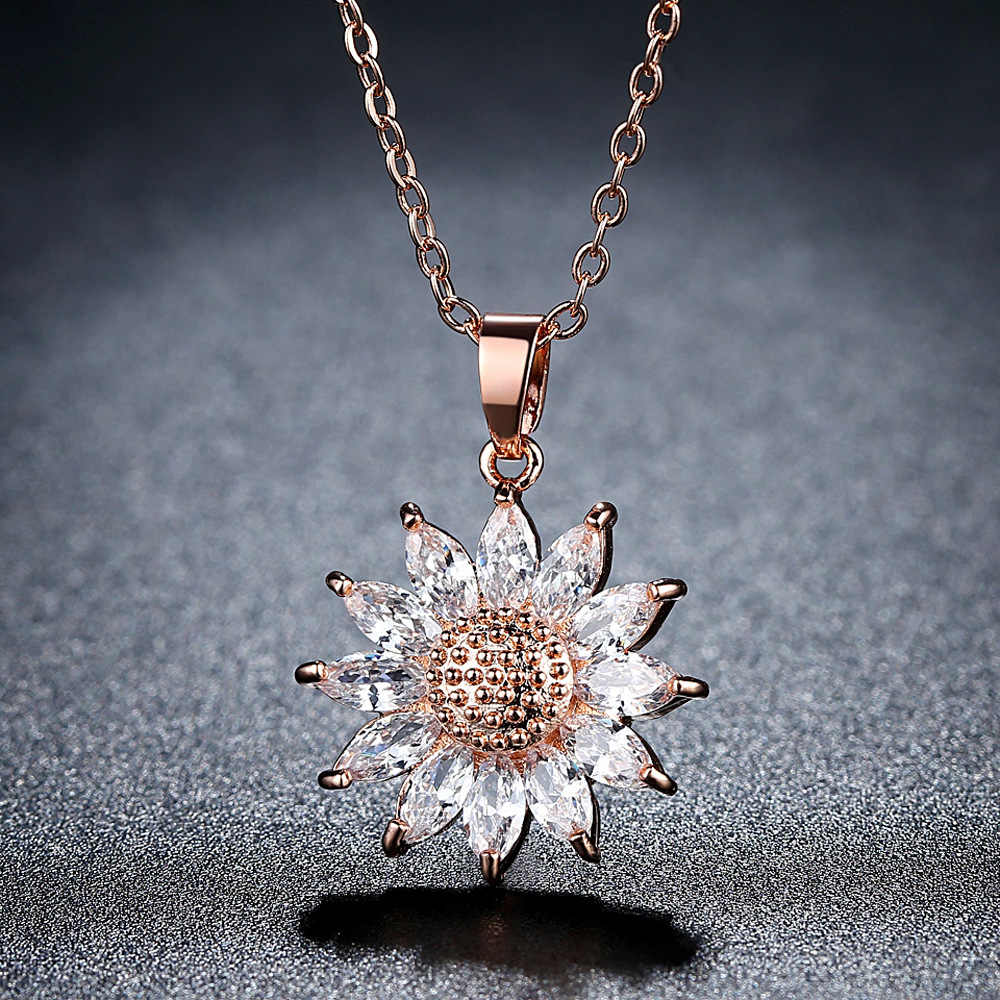 Marka Big Sunflower Charm naszyjniki srebrny/złoty kolor wisiorek strasy i łańcuch ze stali nierdzewnej mężczyźni/kobiety biżuteria 2017 P1034