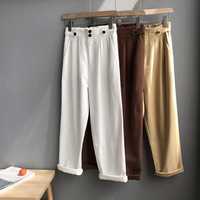 Mooirue Spring Women Pants Female Casual Wash Cotton Highwaist Loose Khaki Woman Pantalon Bottom