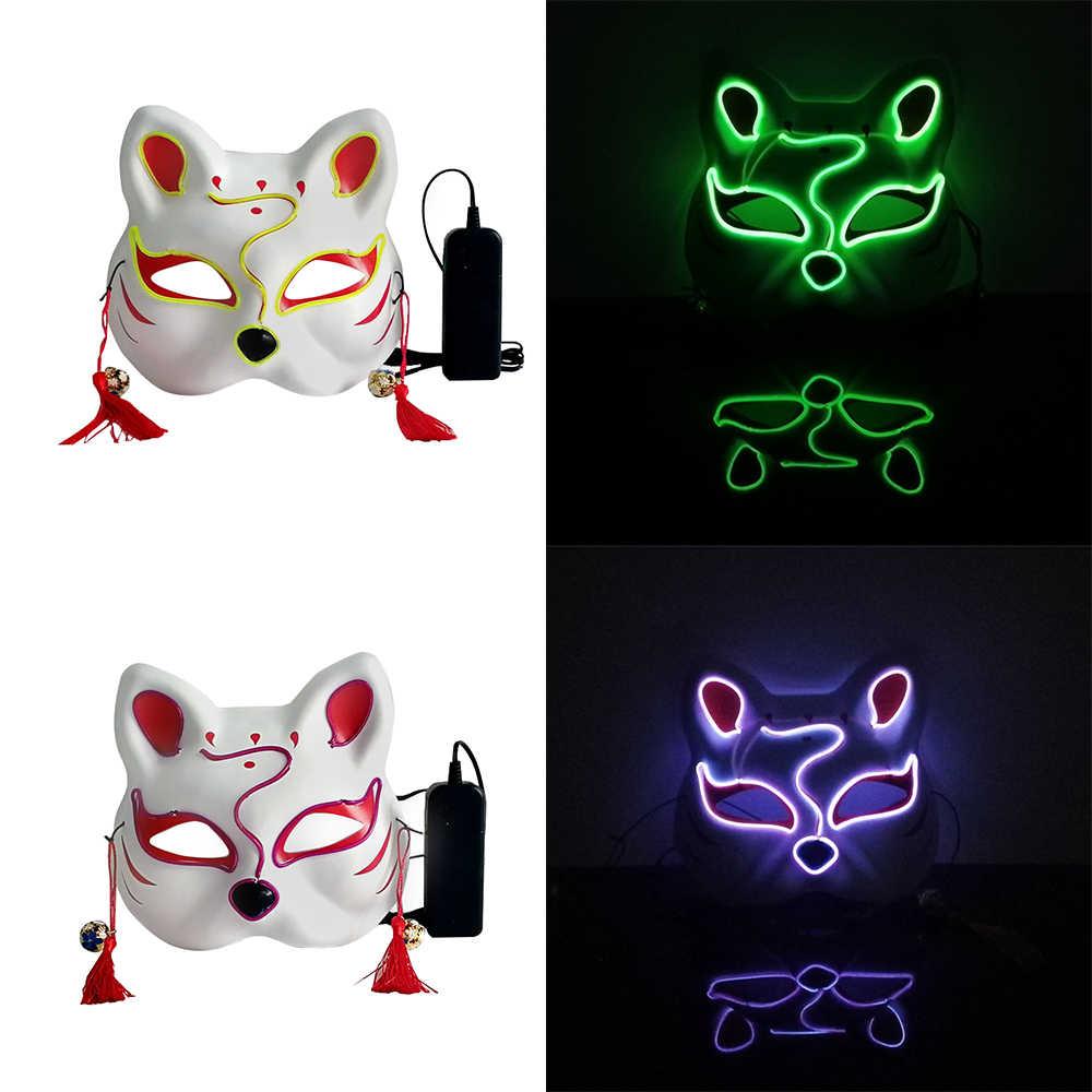 Led قناع هالوين أقنعة تنكرية للحفلات القط العلوي نصف الوجه النيون قناع ضوء متوهج في الظلام قناع الرعب متوهجة Masker تطهير