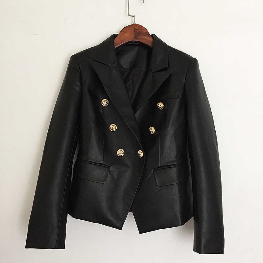 New Autumn Winter Metal Button 2019 Designer Blazer Jacket Female Lion Double Breasted Coat Synthetic Leather