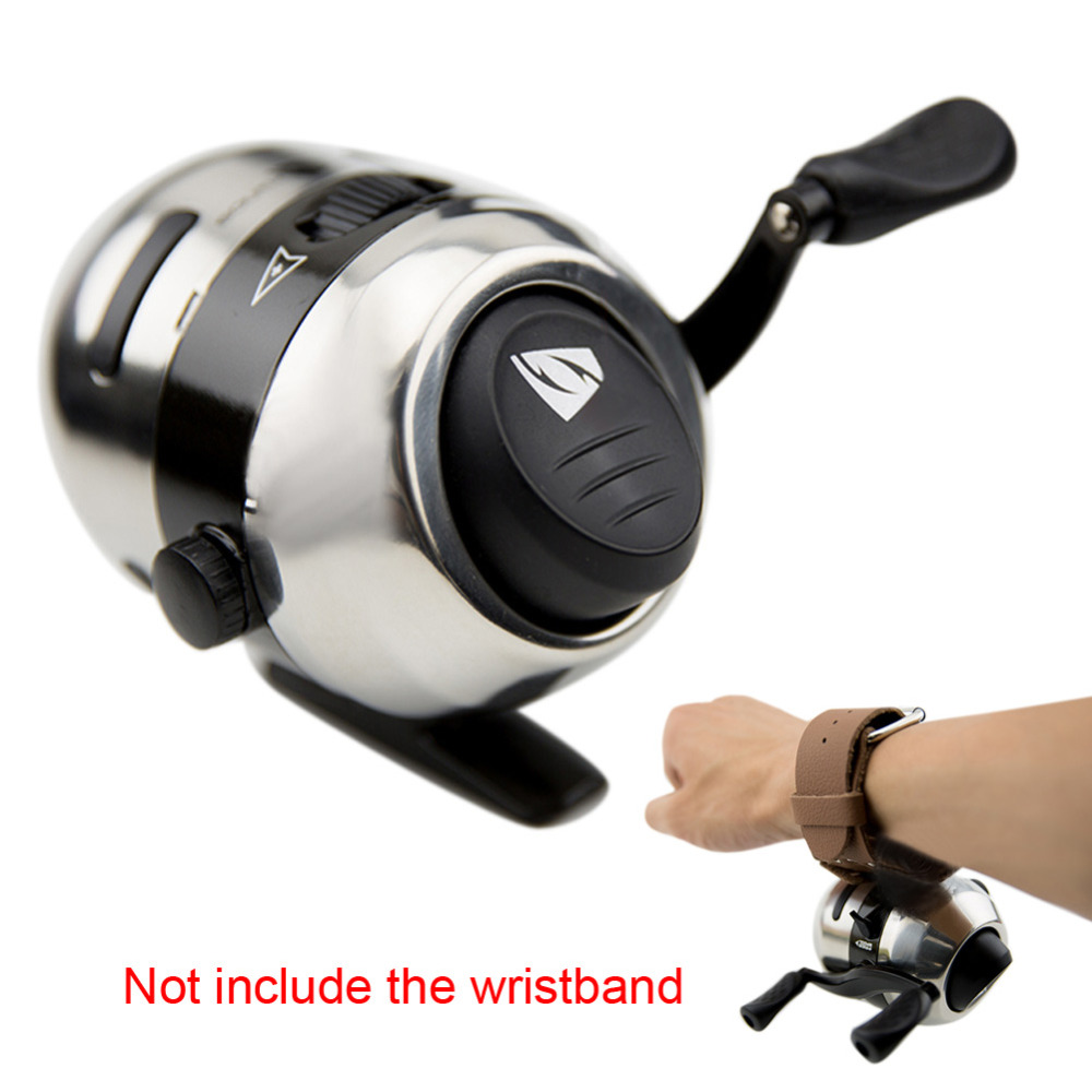 yumoshi Mini Bow Slingshot Fishing Spincast Reel Wheel Catapult Hunting Shooting aluminum alloy Fishing Reel for Fishing Tool