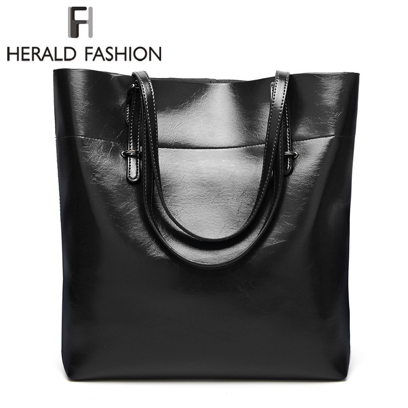 купить Herald Fashion New Arrivals High Quality Leather Women Bag Bucket Shoulder Bags Solid Big Handbag Large Capacity Top-handle Bags по цене 1107 рублей