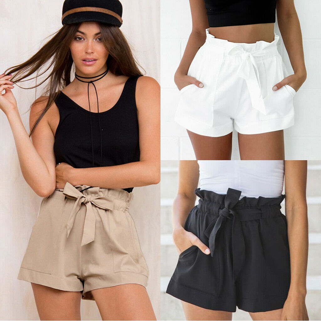 Women Shorts High Waist Solid Color Elastic Waist With Decorative Drawstring Casual Summer Beach Hot Mini Shorts Femme