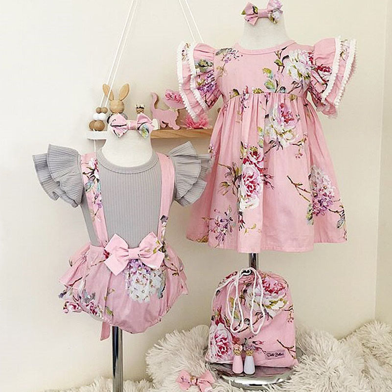 Pudcoco Girl Dress USStock Toddler Baby Girl Floral Dress Infant Romper Overall Tops+Bib Shorts Set