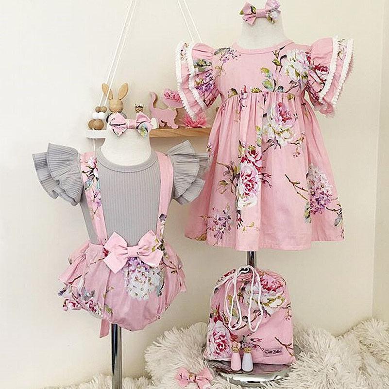 Pudcoco Girl Dress USStock Toddler Baby Girl Floral Dress Infant Romper Overall Tops+Bib Shorts Set