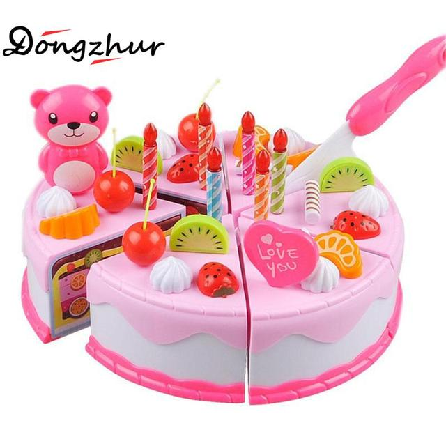 New Pink Blue Kids Birthday Luxury Fruit Candles Cake Set Party Pretend Play Kitchen Food Toy