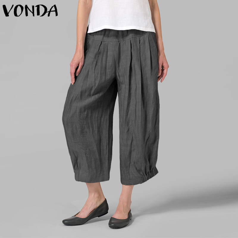 VONDA Women   Wide     Leg     Pants   2019 Autumn Spring High Waist Harem   Pants   Solid Casual Loose Trousers Plus Size Vintage Bottoms 5XL