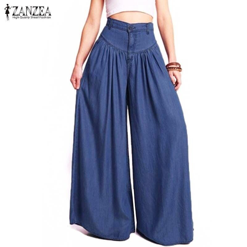 Denim Blue Women's   Pants   2019 Summer   Wide     Leg     Pants   Female Casual Pleated Trousers Women High Waist Slacks Pantalon Palazzo 5XL