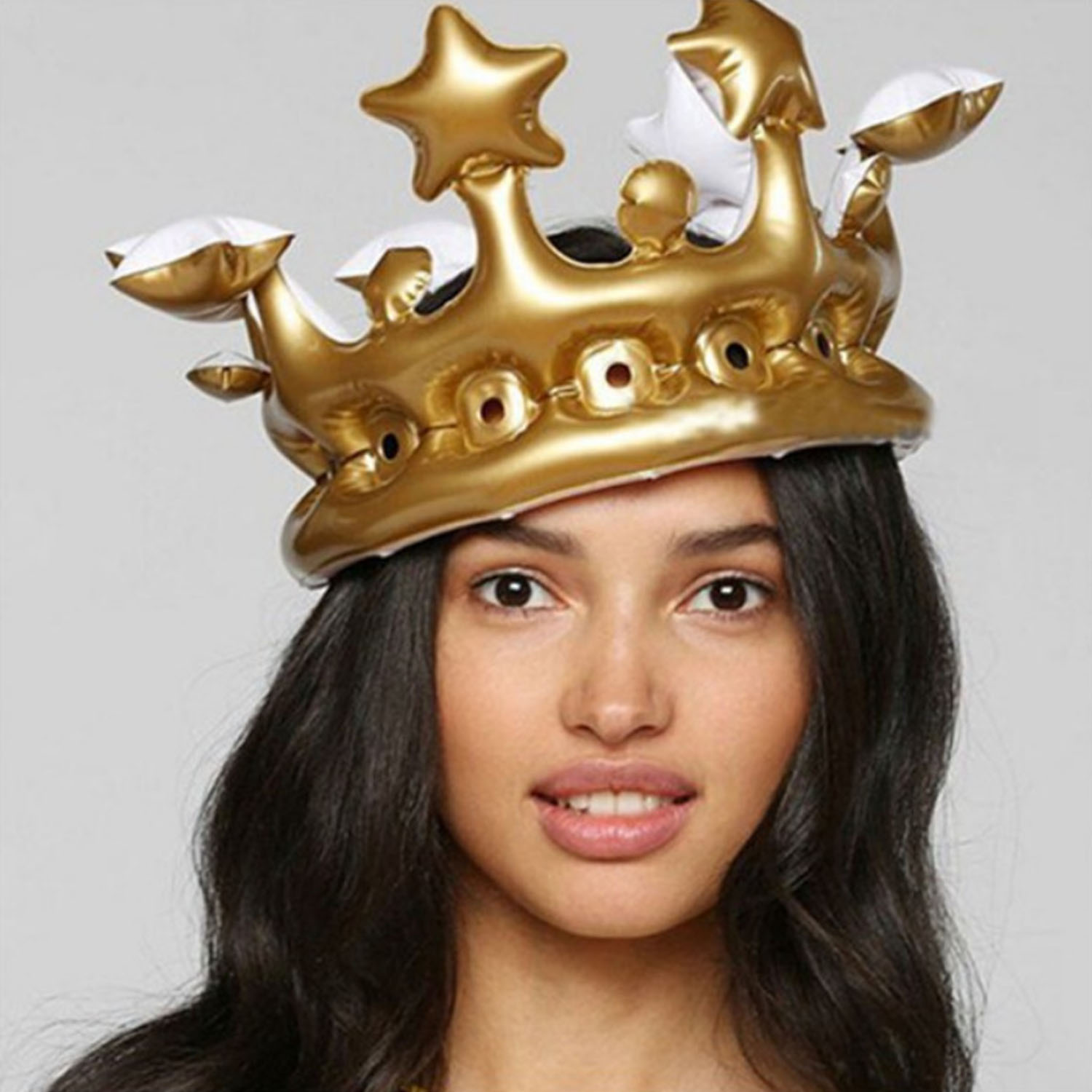 Kids Adults Funny Cute Inflatable Crown Inflated Hat Gold Crown Balloons Photo Booth Selfie Crown Props Toy for Birthday Party