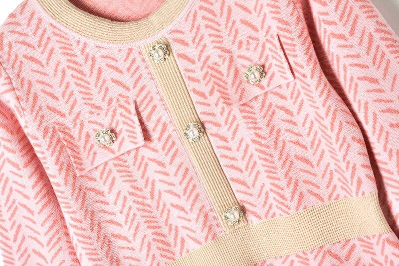 Women Sweater Dresses for Winter 2018 Elegant Buckle Diagonal Striped O-Neck Empire Midi Sweater Dress A-line Long Sleeve Dress