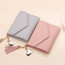 купить Short Wallet Women Purses Tassel Fashion Coin Purse Card Holder Wallets Female High Quality Clutch Money Bag PU Leather Wallet по цене 239.68 рублей