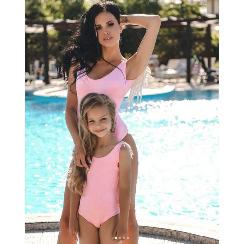 fb6e46453ce3a Detail Feedback Questions about Mom Baby Lace Shoulder Swimwear One Piece  Swimsuit Print Monokini Sexy Bodysuit mommy and me Beach Wear Bathing Suit  ...
