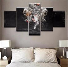 Canvas Prints Paintings Modular Framework Living Room Decor 5 Pieces Sport Basketball Player Pictures Abstract Poster Wall Art