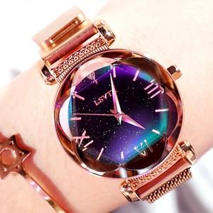 Image 1 - Женские наручные часы, роскошные часы из розового золота с магнитной застежкой и браслетом звездного неба, 2019