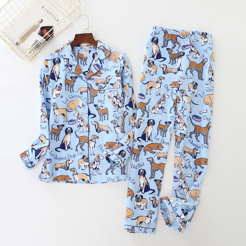 home suit 100% Cotton Women   Pajama     Sets   Cute Cartoon Dog Pyjamas Women Couples Sleepwear Casual Soft Female Suit Pijama Mujer