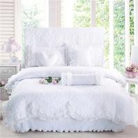 100% хлопок толстый стеганый кружевной комплект постельного белья постельный комплект принцессы в Корейском стиле для девочек белый розовый