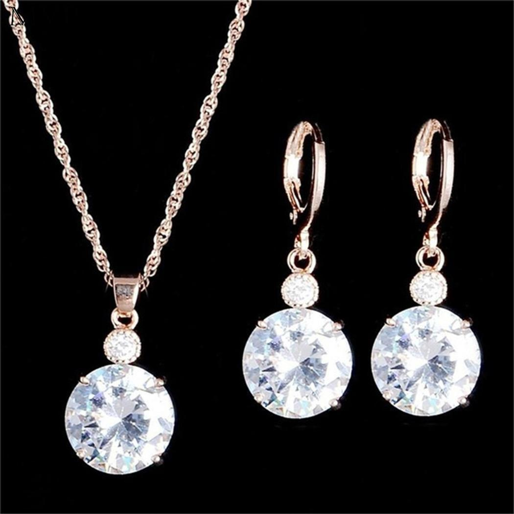 Necklace-Set Jewelry Drop-Earrings Rhinestone Street Fashion Round Club Casual Women