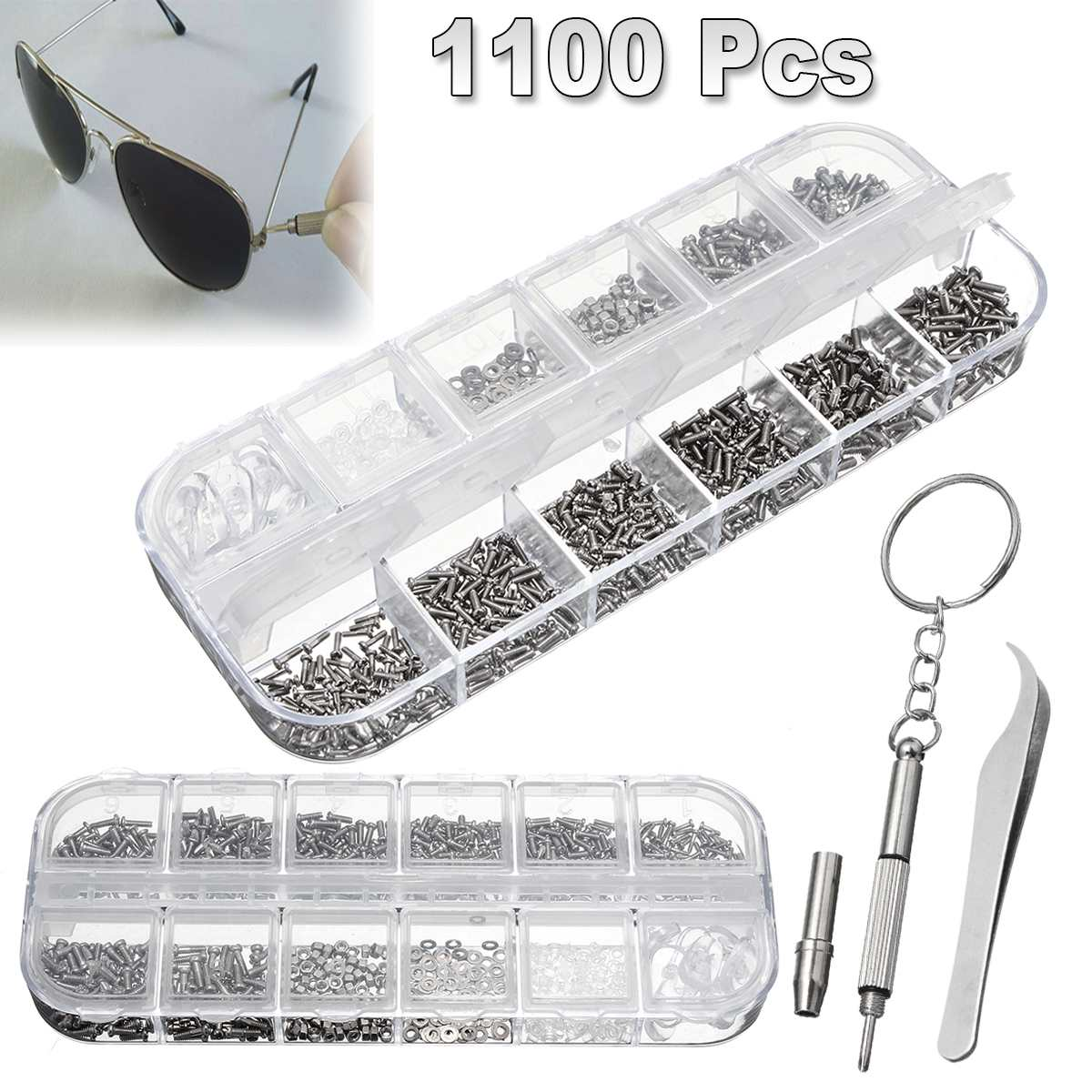 1100pcs Tiny Screws Stainless Kit Repair Part Tools For Watch Eye Glasses Clock Steel Small Screws Nuts Assortment1100pcs Tiny Screws Stainless Kit Repair Part Tools For Watch Eye Glasses Clock Steel Small Screws Nuts Assortment