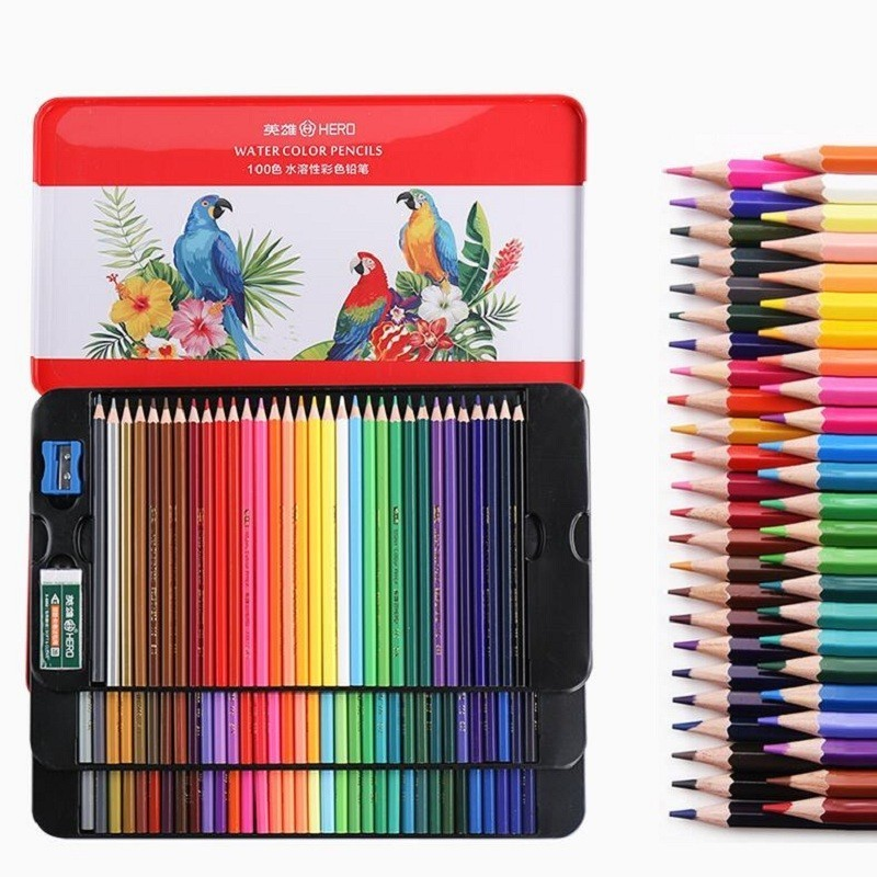 12-100 Colors Watercolor Pencils Art Supplies Professional Colored Pencils For Children Painting Drawing School Stationery 05861