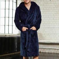 5xl 4xl 3xl flanelle Robe mâle épais solide Robe de chambre grande taille ceinturée Empire hommes peignoir hiver longue Robe hommes Robe de bain