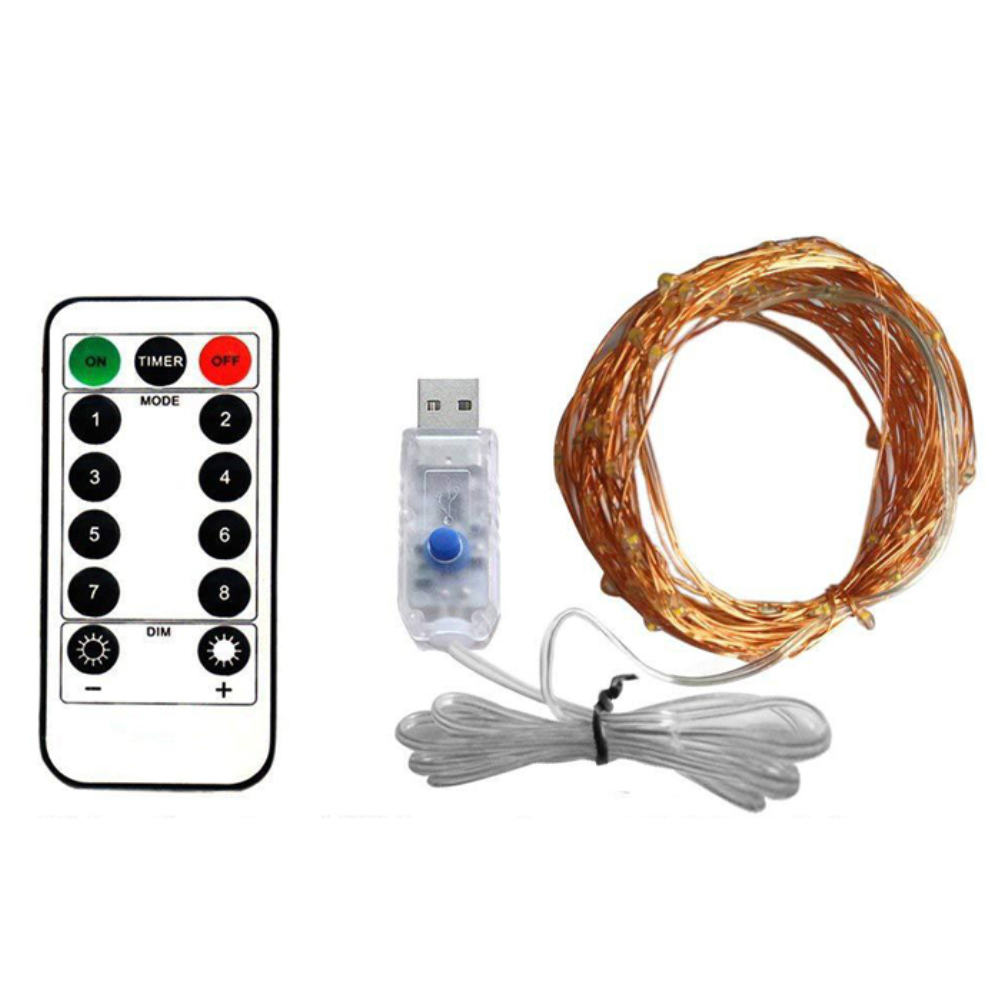 5M 10M Copper Wire LED Light Strip DC 5V USB Remote Controller Dimming Background Light Flexible Tape Ribbon For Christmas