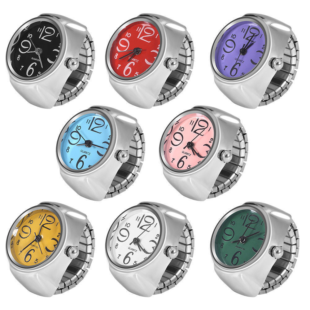 Shellhard 1pcWomen's Quartz Analog Creative Stainless Steel Cool Finger Ring Watch Ladies Large Number Silver Small Wristwatches