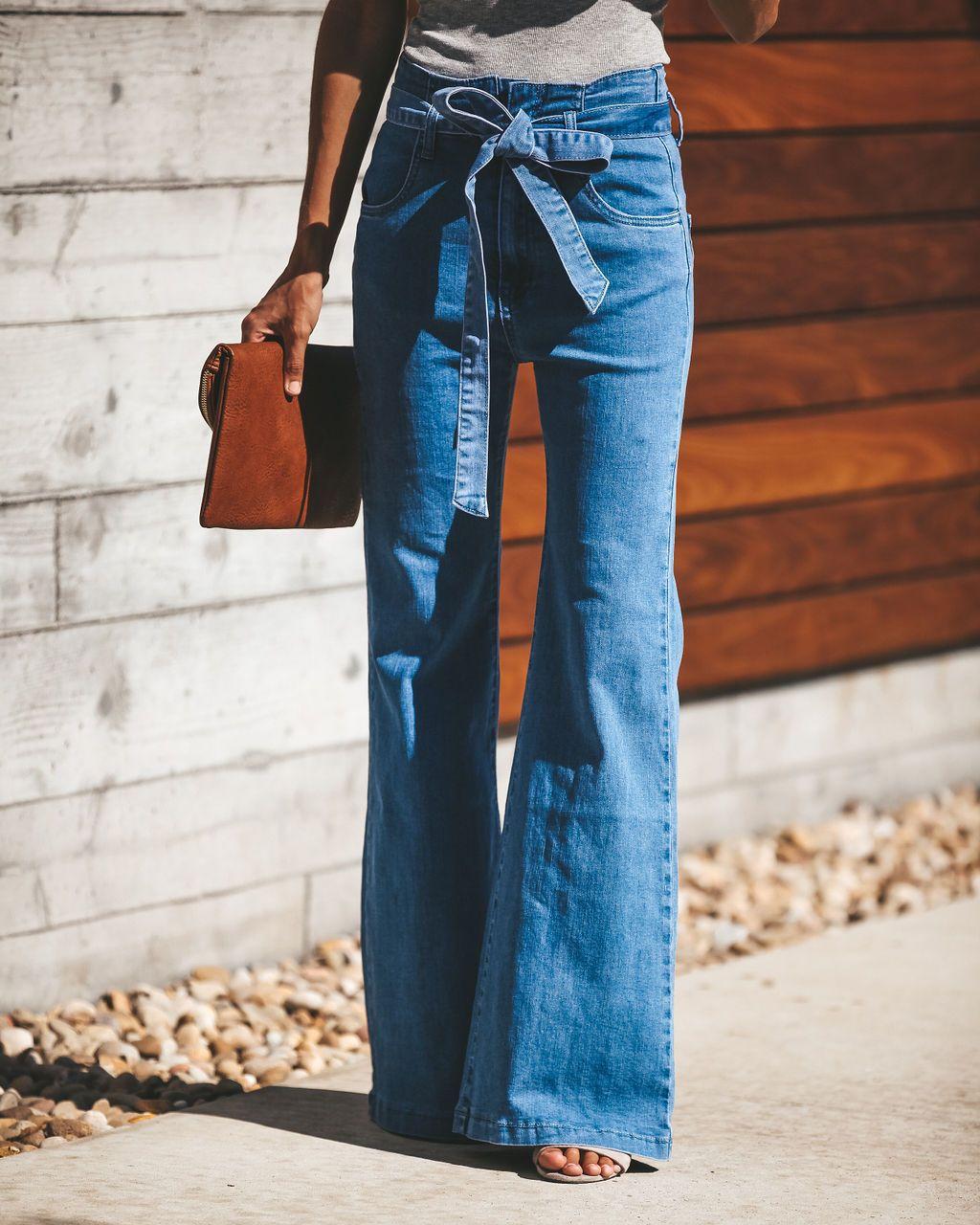 High Waist Slim Drawstring Jeans Women Winter Fashion High Street Vintage Flare Pants Mujer Sky Blue Sashes Denim Femme 2019