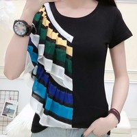 New Fashion Women Sweet T Shirt Casual New Fashion O Neck Half Sleeve Tees Ruffles Patch Loose T Shirts