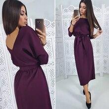 Women Vintage Sashes Straight Backless Dress Ladies Seven Sleeve O Neck Knee