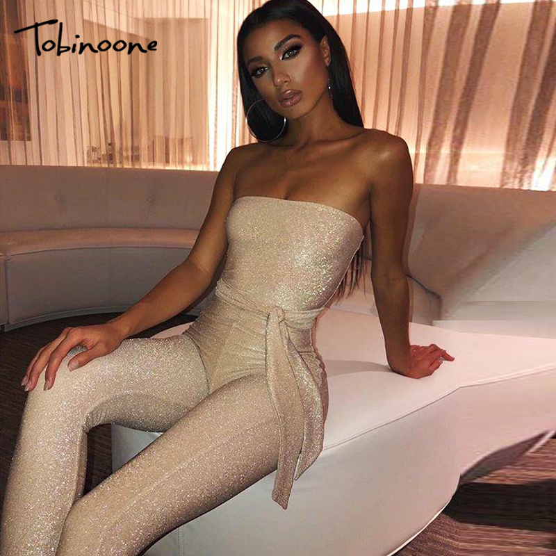 Tobinoone Women Jumpsuits 2019 Fashion Ladies Solid Rompers Party Clubwear Playsuits Off Shoulder Sashes Jumpsuit Long Trousers