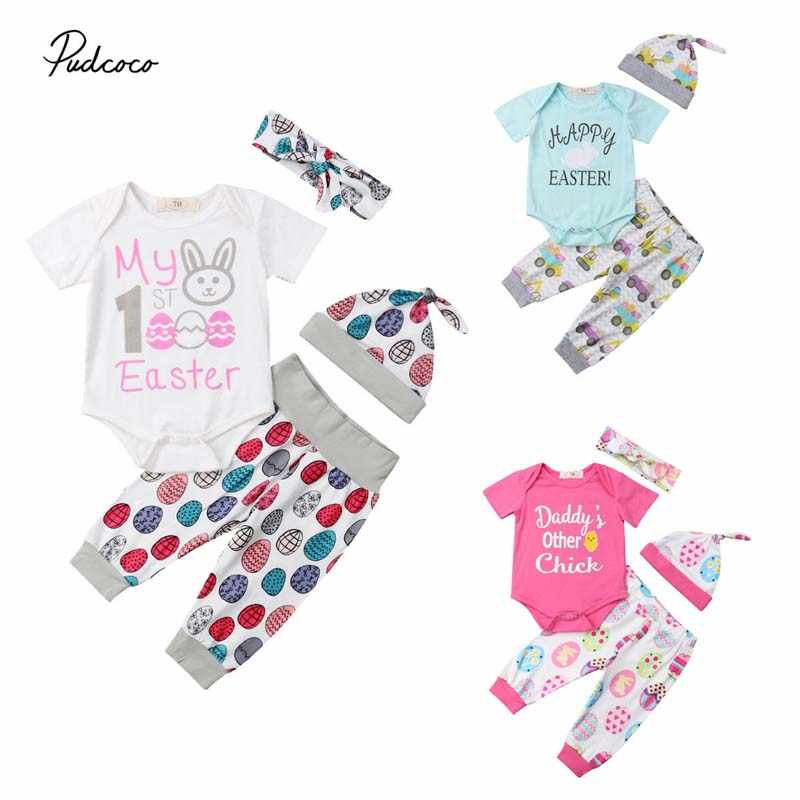 b83e306cd71e3 2019 Brand My First Easter Newborn Baby Girl Boy Clothes Cute Cartton Bunny  Cotton Romper Pants