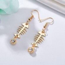 Unique Fish Bone Shinning Rhinestone Women Drop Earrings Individuality Girls Cute Pattern Drop Earrings Jewelry Accessory
