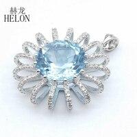 HELON Solid 14 к белое золото 5.6CT натуральный, небесно синий топаз 0.4CT Алмазы обручальные Свадебный Кулон Мода элегантный уникальный ювелирные изд