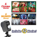 Лазерный проектор на Рождество, Хэллоуин, 12 фильмов, мини-проектор с окном в стране чудес, для помещений и улицы, Рождественский проектор для...