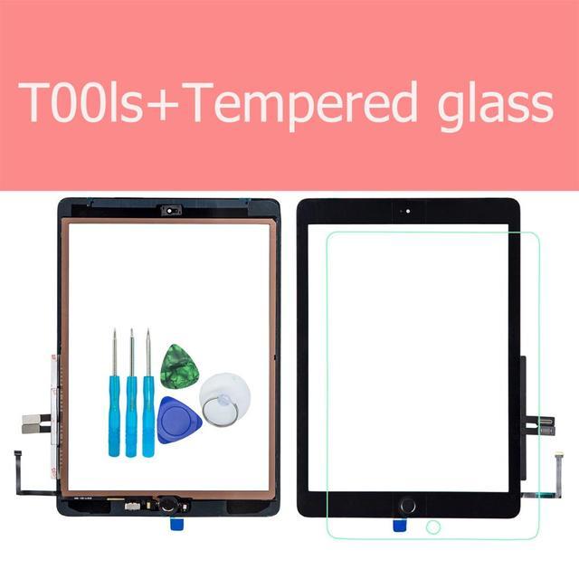 Für iPad 6th 2018 A1893 A1954 Touchscreen Glas Montage Ersatz + Home Taste + Eröffnung Werkzeuge + Gehärtetem Glas