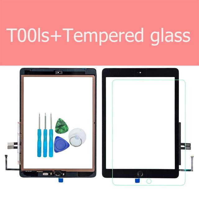 Pantalla táctil de cristal para iPad 6th 2018 A1893 A1954, repuesto de montaje, botón de inicio, herramientas de apertura, cristal templado