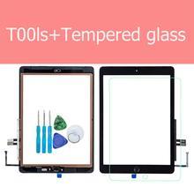 עבור iPad 6th 2018 A1893 A1954 מגע מסך זכוכית עצרת + בית לחצן + פתיחת כלים + מזג זכוכית