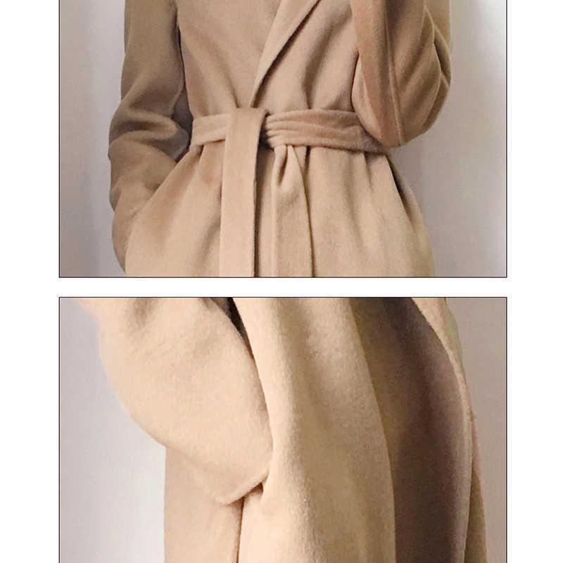 Новинка 2019, Женская Осенняя шерстяная куртка, женская теплая зимняя куртка с длинным рукавом и поясом, черный хаки тонкий кардиган, длинное пальто H42