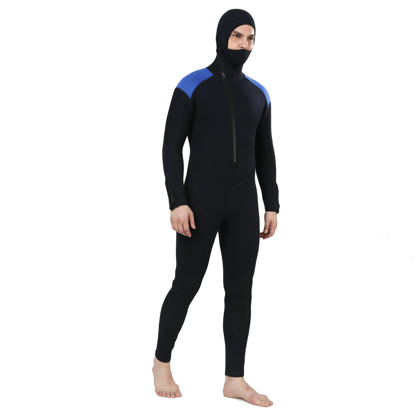 f81a869af5 US $99.99 |5MM Men Wetsuit Hoodies with Neoprene for Fishing Surfing  Swimming Snorkeling Jumpsuit Scuba Diving Suit -in Wetsuit from Sports & ...