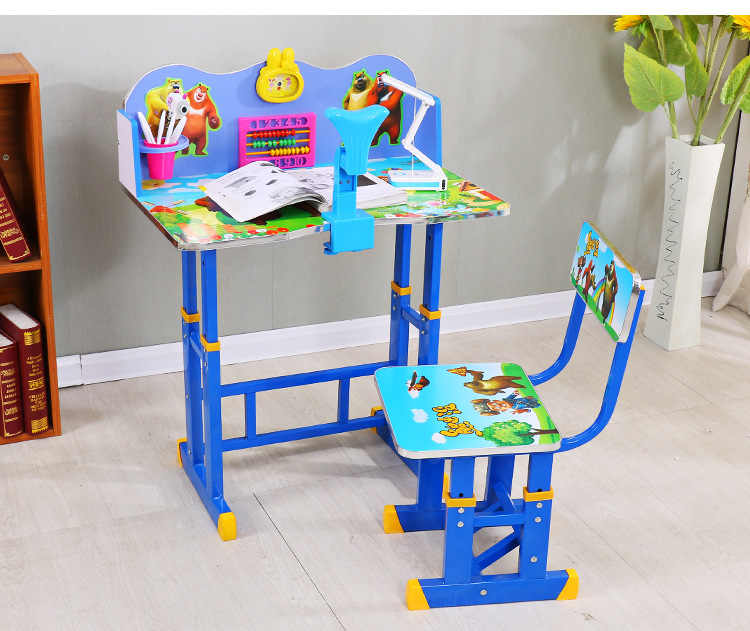 Desk & Chair Set for Boy/Girl Cartoon Pattern Student Table with Shelf Holder Height Adjusatable Durable Kids Bedrooom Furniture