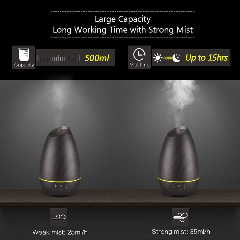 500ml Aromatherapy Essential Oil Diffuser Wood Grain Aroma Diffusers Cool Mist With Press Control Timer Adjustable Mist 7 Colo