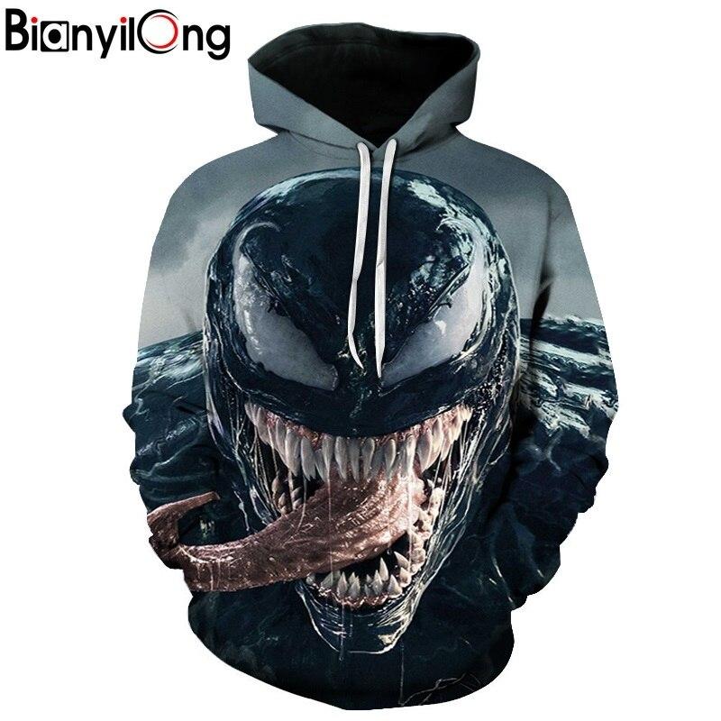BIANYILONG 2018 NEW mens hoodies Movie Spiderman Venom Villain Skull Tees 3D Print Hoodie/Sweatshirt Unisex Good hip hop Tops