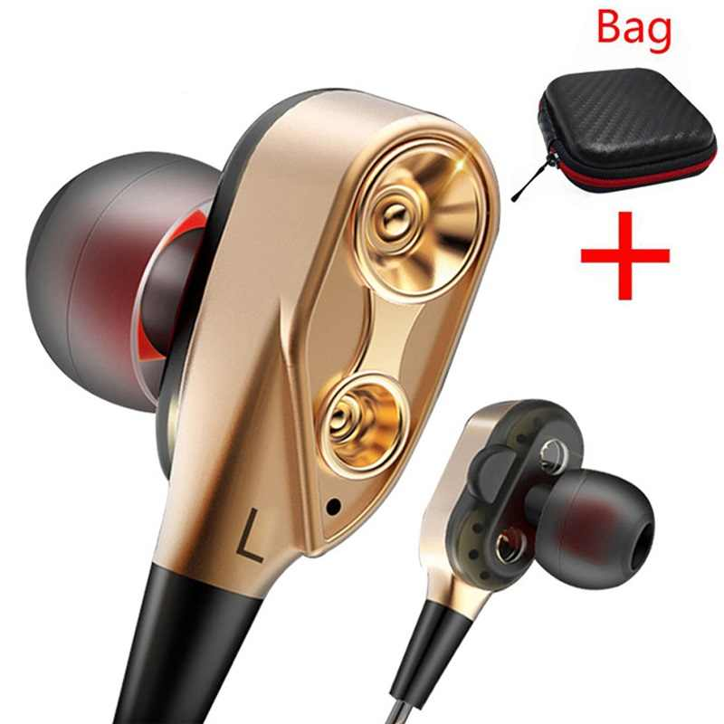 PTM P22 Double Unit Drive Earphone Headphone Super Bass Olahraga Headset untuk Ponsel Samsung Iphone Xiaomi Auriculares MP3
