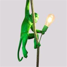 Nordic Green Led Monkey Lamp Resin Living Room Restaurant Bedroom Luminaire Pendant Lights  Kitchen Fixtures Hanging