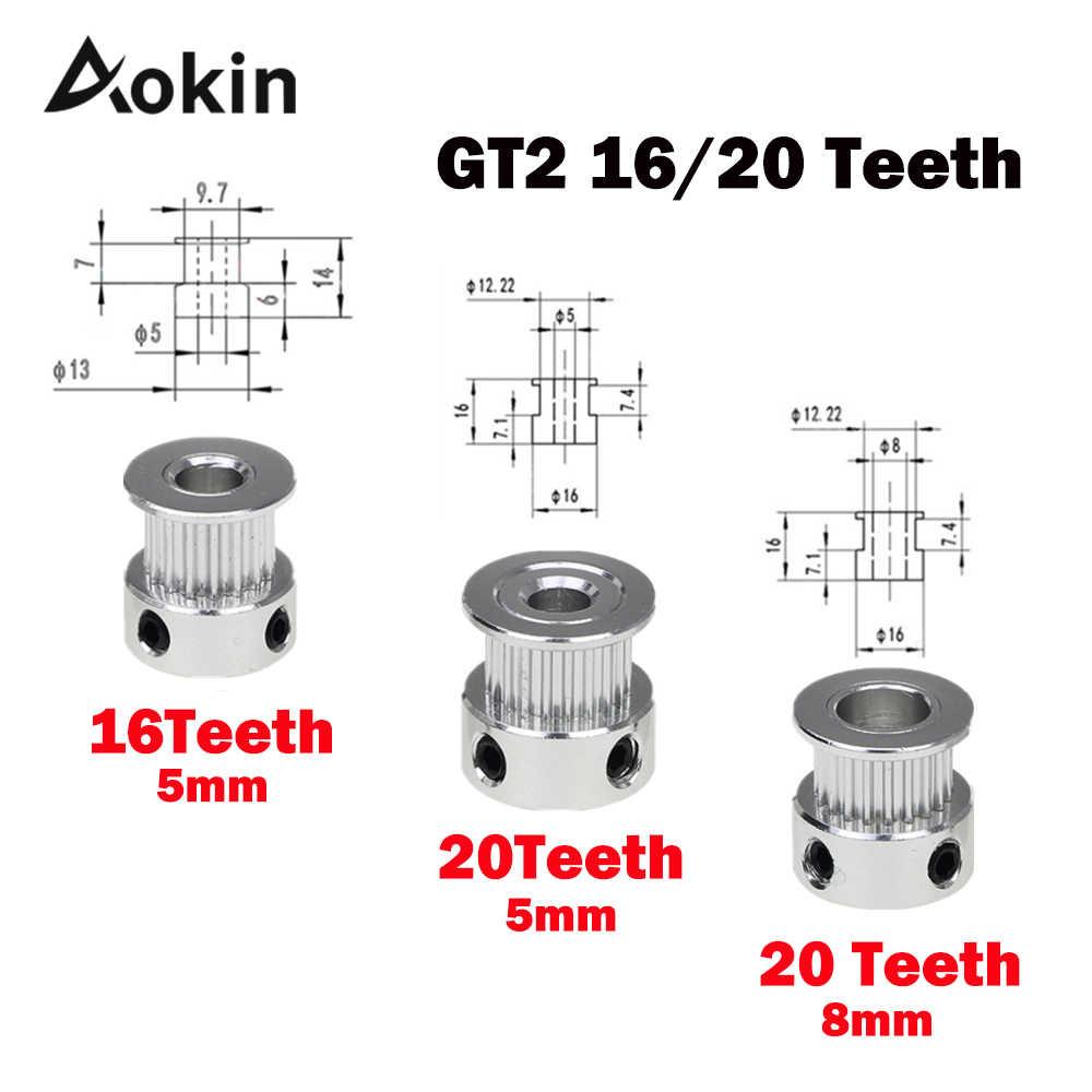 Gt2 koło pasowe 3d części do drukarek Gt2 20 zębów 16 zębów 16 20 otwory na zęby 5mm/8mm rozrządu Alumium dla Gt2 6mm otwarty pasek rozrządu