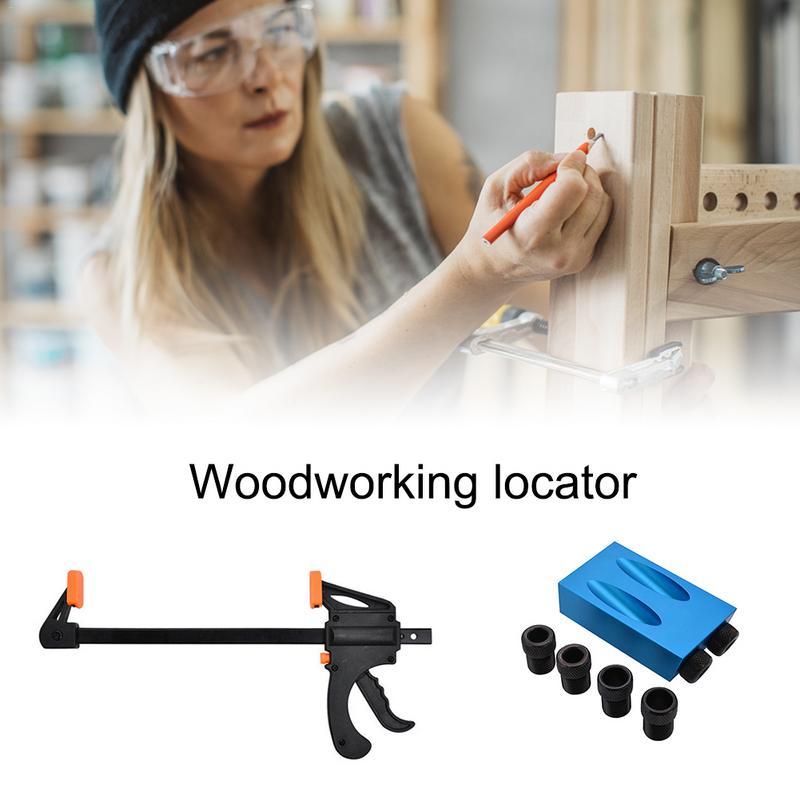 Carpentry Hole Pocket Jig Kit 6/8/10mm Drill Set Angle Drill Bit Puncher Locator Template Bit DIY Woodworking ToolsCarpentry Hole Pocket Jig Kit 6/8/10mm Drill Set Angle Drill Bit Puncher Locator Template Bit DIY Woodworking Tools