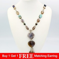 Natural Stone Gray Agates Beads&Crystal Beads&Black Baroque Pearl&Abalone&Agates Heart Shape Pendant Crystal Tassels 29''