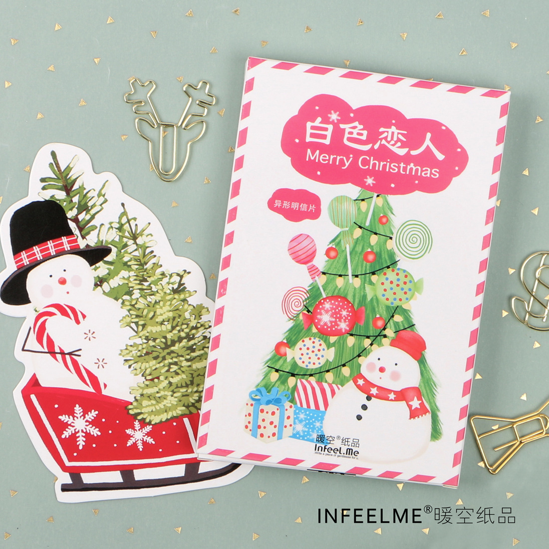 30 Pcs/pack Cute Snowman Merry Christmas Greeting Card Postcard Birthday Gift Card Set Message Card Letter Envelope Card Stock